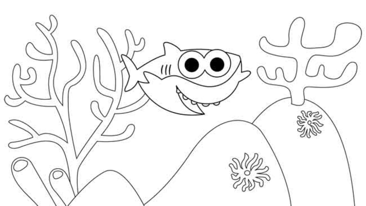 This is a graphic of Free Printable Shark Coloring Pages in full page