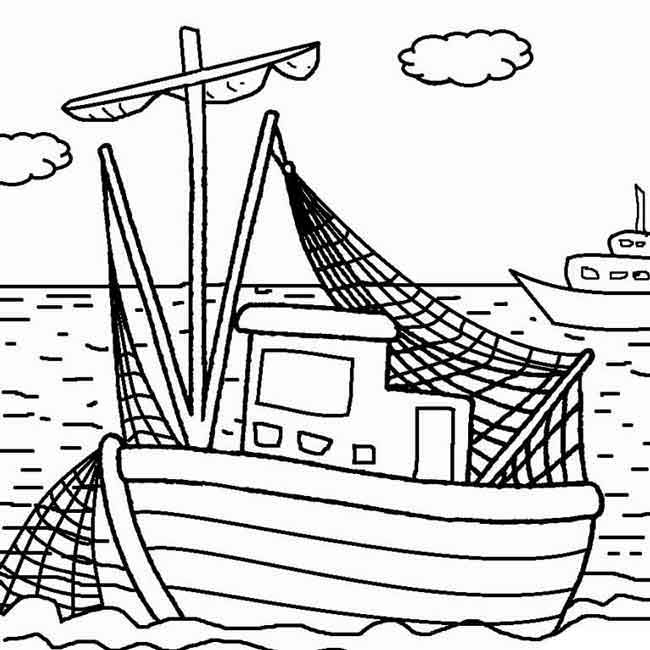 Rugged Boat Coloring Page | Free | Ship Coloring Pages | Fishing Boats | 650x650